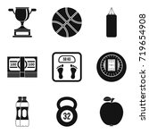 sport fight icons set. simple... | Shutterstock .eps vector #719654908