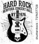 rock poster  vintage rock and... | Shutterstock .eps vector #719657728