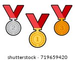 set of award medals with red... | Shutterstock .eps vector #719659420