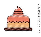 birthday cake dessert... | Shutterstock .eps vector #719672413
