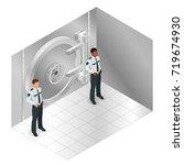 closed steel bank vault door....   Shutterstock .eps vector #719674930