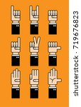 set of hands icons and symbols   Shutterstock .eps vector #719676823