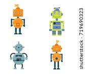 set of cute vintage robots.... | Shutterstock .eps vector #719690323