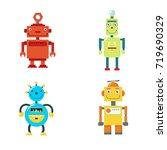 set of cute vintage robots.... | Shutterstock .eps vector #719690329