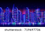 night city skyline. urban... | Shutterstock .eps vector #719697736