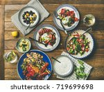 flat lay of healthy dinner... | Shutterstock . vector #719699698