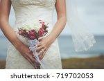 beautiful bride with wedding... | Shutterstock . vector #719702053