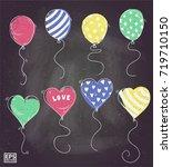 balloon doodle chalk | Shutterstock .eps vector #719710150