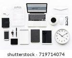 aerial view of computer laptop... | Shutterstock . vector #719714074