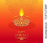 happy diwali festival card with ... | Shutterstock .eps vector #719717389