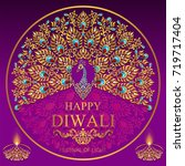 happy diwali festival card with ... | Shutterstock .eps vector #719717404