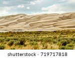 Patterned Sand Dune With Bushe...