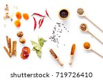 variety of spices and dry herbs ... | Shutterstock . vector #719726410