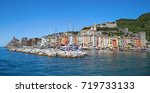 Beautiful view of town Porto Venere  on Ligurian coast of Italy in province of La Spezia. View from the sea in the Italian resort town. - stock photo