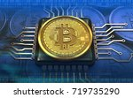 3d illustration of bitcoin over ... | Shutterstock . vector #719735290
