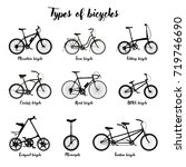 types of bicycle silhouette. | Shutterstock .eps vector #719746690