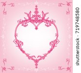 classic pink wedding card... | Shutterstock .eps vector #719748580