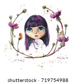 dolls and flowers. watercolor... | Shutterstock . vector #719754988