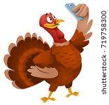 turkey making selfie.... | Shutterstock .eps vector #719758300