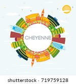 cheyenne skyline with color... | Shutterstock . vector #719759128