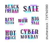 set of sale discount badges ... | Shutterstock .eps vector #719760580