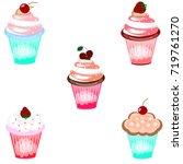 set of ice cream icons on white ... | Shutterstock .eps vector #719761270