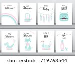 set of baby shower invitations... | Shutterstock .eps vector #719763544