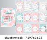 calendar 2018 vector design... | Shutterstock .eps vector #719763628