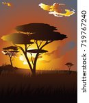 colorful sunset scene  african... | Shutterstock .eps vector #719767240