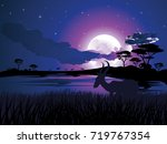 colorful night scene  african... | Shutterstock .eps vector #719767354