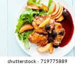 baked chicken with fruits and... | Shutterstock . vector #719775889