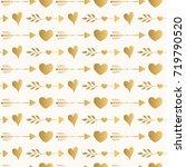 golden heart and arrow pattern | Shutterstock .eps vector #719790520