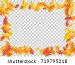 oak leaf vector frame or border ... | Shutterstock .eps vector #719795218