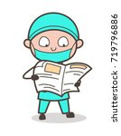 cartoon surgeon reading... | Shutterstock .eps vector #719796886