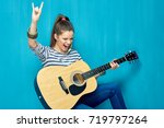 rock on with teenager girl and... | Shutterstock . vector #719797264
