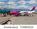 Small photo of WARSAW, POLAND - SEPTEMBER 9, 2017: low cost airline plane Wizzair on the airstrip at Chopin International Airport in Warsaw.