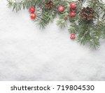 christmas fir tree on snow...   Shutterstock . vector #719804530