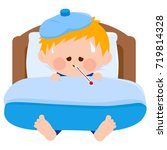 a sick child in bed  using a... | Shutterstock . vector #719814328
