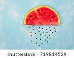 watermelon cloud with rain...   Shutterstock . vector #719814529