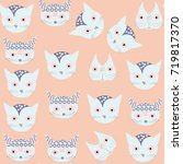 adorable cats seamless pattern. ... | Shutterstock .eps vector #719817370