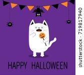 happy halloween. spooky... | Shutterstock . vector #719817940
