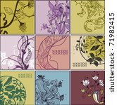 set of 9 floral cards with... | Shutterstock .eps vector #71982415