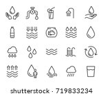premium set of water line icons.... | Shutterstock .eps vector #719833234