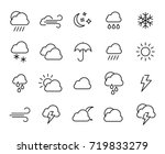 premium set of weather line... | Shutterstock .eps vector #719833279