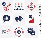 marketing set flat icons vector ... | Shutterstock .eps vector #719833633