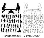 sketch children  silhouette... | Shutterstock .eps vector #719839930
