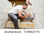 young man mason de molding...   Shutterstock . vector #719842774