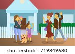 the nanny with children sees... | Shutterstock .eps vector #719849680