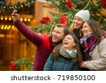 christmas holiday. cheerful... | Shutterstock . vector #719850100