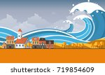tsunami  flood disaster  vector ... | Shutterstock .eps vector #719854609